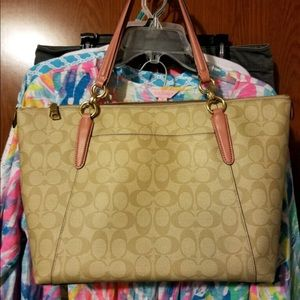 Coach Bags - Coach tan purse with pink handle. Like new.